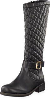 Bianco - Long Quilt Boot Black